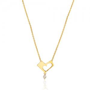گردنبند طلا زنانه طرح قلب ولنتاین با مروارید کد xn137