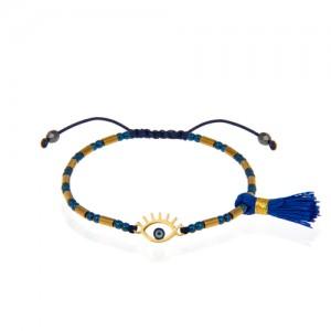 دستبند طلا زنانه طرح چشم نظر کد xb947