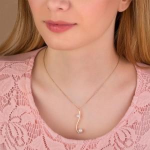 گردنبند طلا زنانه طرح هندسی با مروارید کد xn139