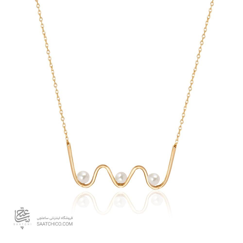 گردنبند طلا زنانه طرح هندسی با مروارید کد xn138