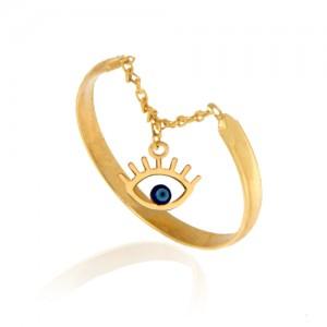 انگشتر طلا زنانه با آویز چشم نظر کد cr385