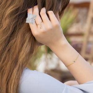 انگشتر طلا زنانه با آویز چشم کد cr385