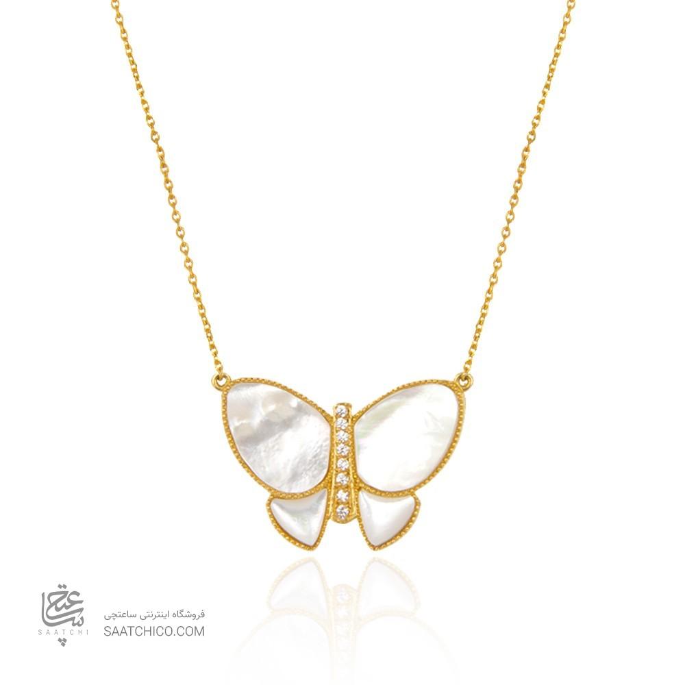 گردنبند طلا زنانه طرح پروانه با صدف کد xn311