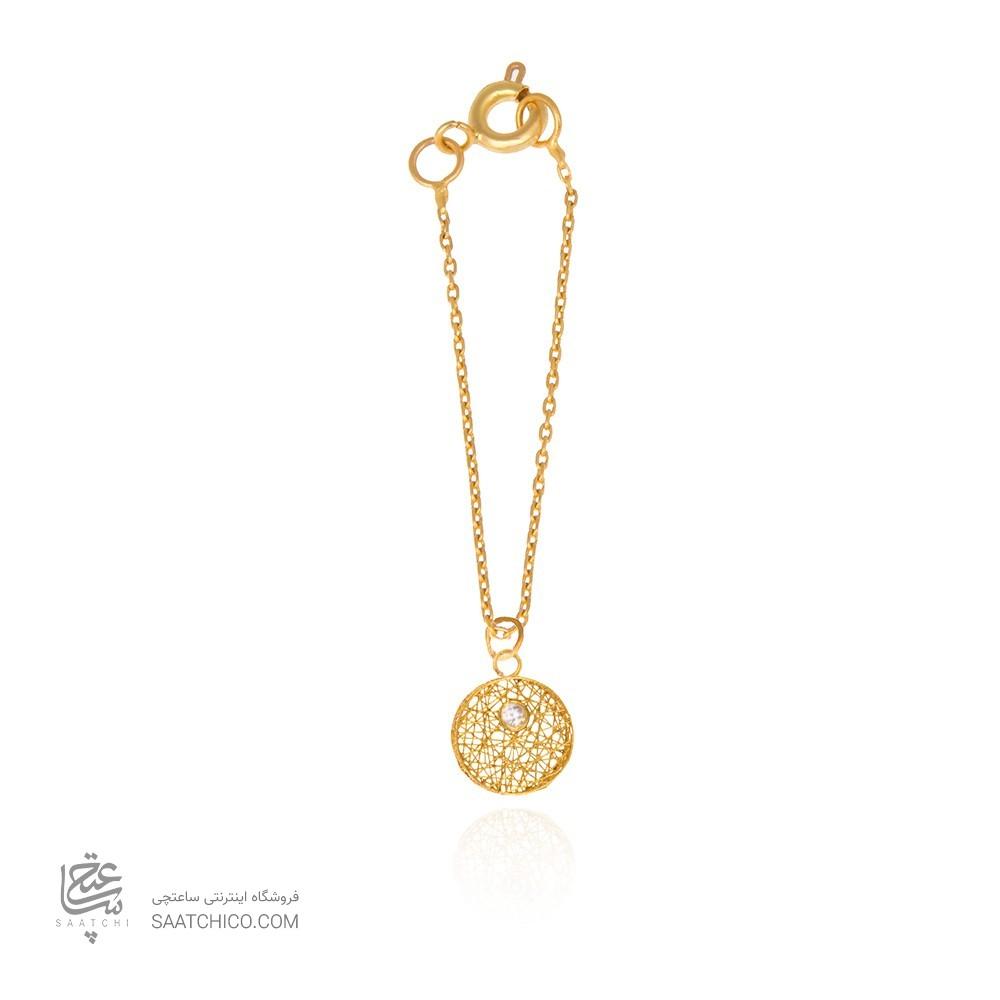 آویز ساعت طلا زنانه طرح دایره فیوژن با نگین کد wp349