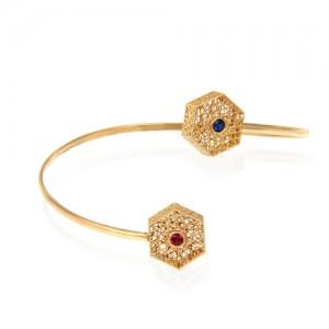 دستبند طلا زنانه طرح فیوژن شش ضلعی با نگین کد cb347