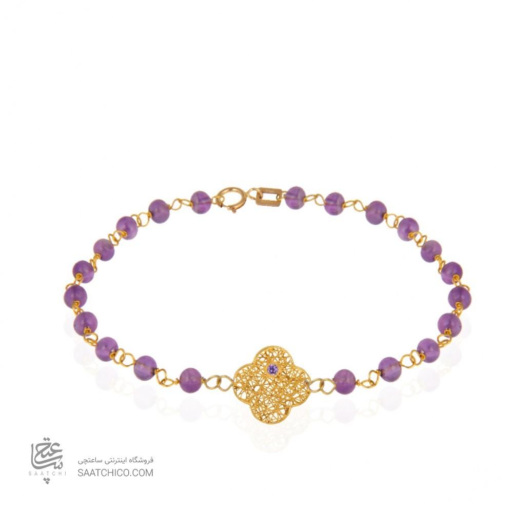 دستبند طلا زنانه طرح فیوژن ونکلیف با نگین و سنگ کد xb957
