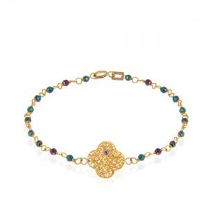 دستبند طلا زنانه طرح فیوژن ونکلیف با نگین و سنگ کد xb958