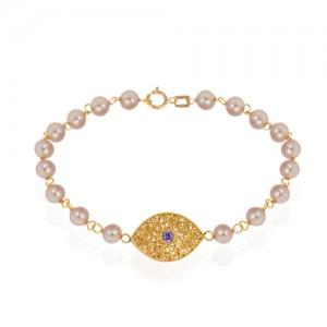 دستبند طلا زنانه فیوژن طرح چشم با نگین و مروارید کد xb717