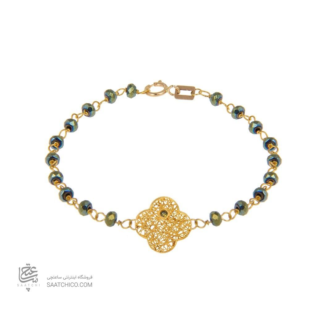 دستبند طلا زنانه طرح فیوژن ونکلیف با نگین و سنگ کد xb956