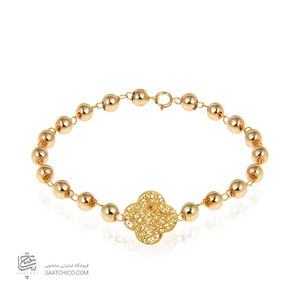 دستبند طلا زنانه طرح فیوژن ونکلیف با نگین و سنگ کد xb955