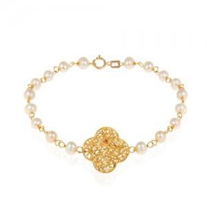 دستبند طلا زنانه طرح فیوژن ونکلیف با نگین و مروارید کد xb718