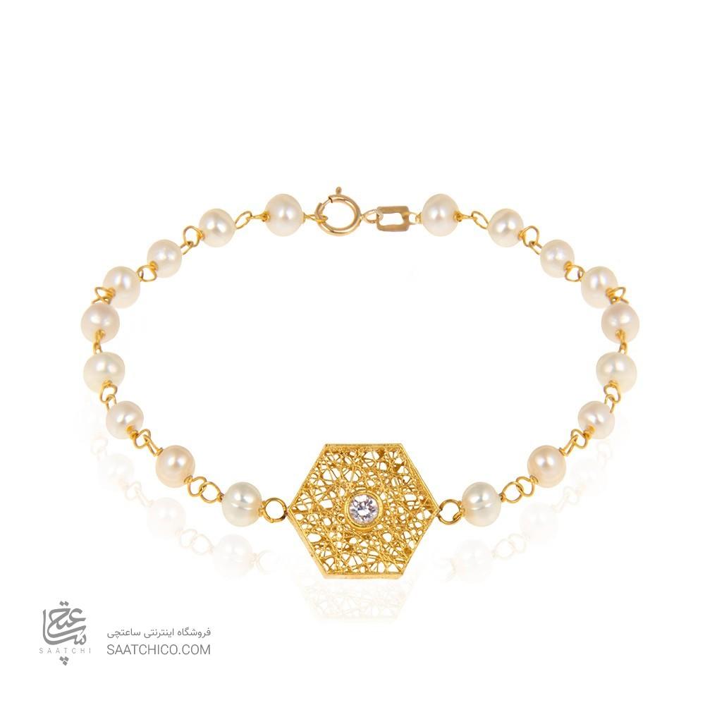 دستبند طلا زنانه طرح فیوژن شش ضلعی با نگین و مروارید کد xb714