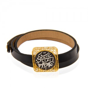 دستبند چرم و طلا با سکه نقره طرح شعر کد xb954