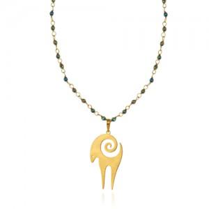 گردنبند رولباسی طلا زنانه طرح قوچ با سنگ کد xn626