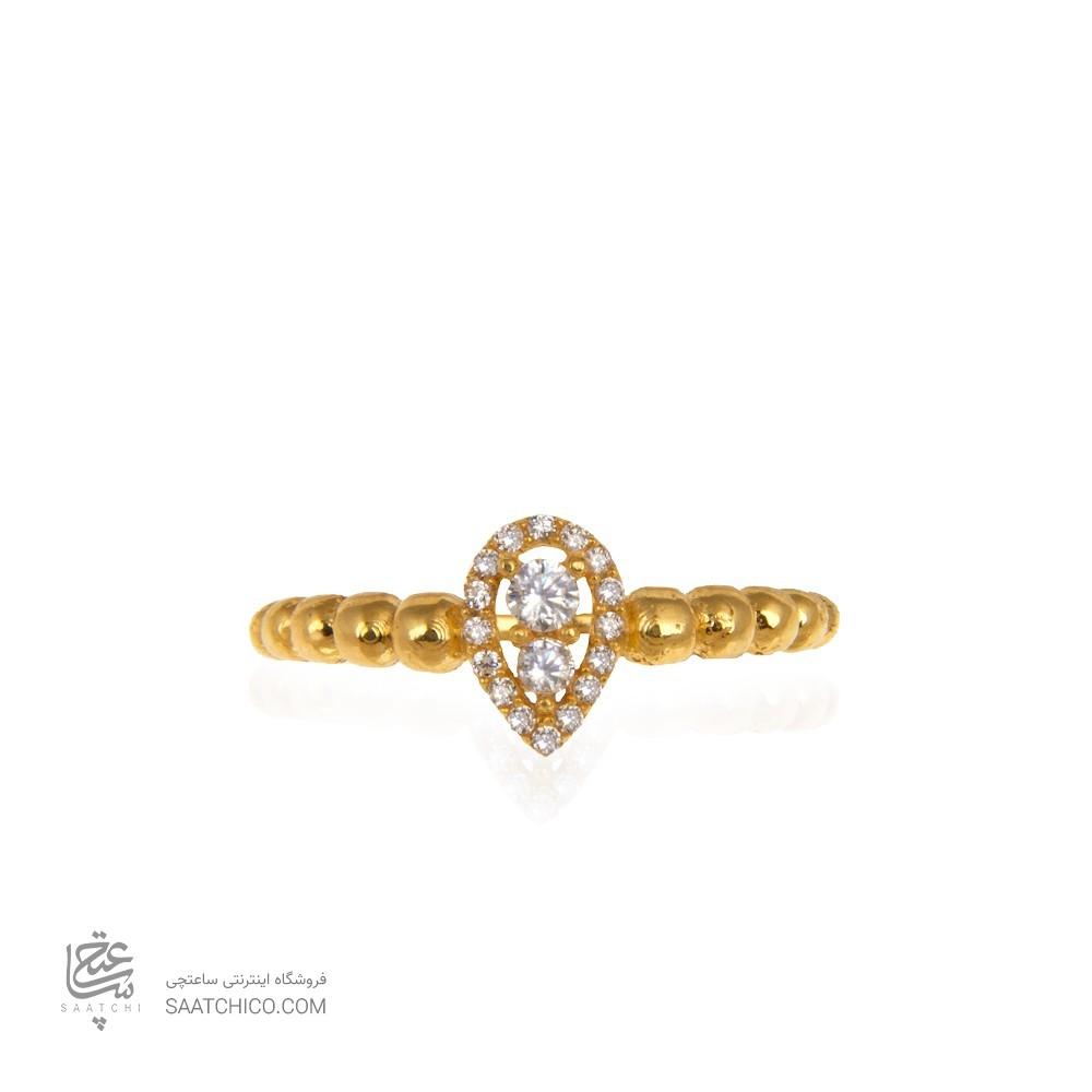 انگشتر طلا زنانه طرح اشک با نگین کد cr389