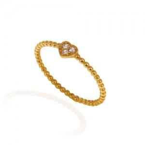 انگشتر طلا زنانه طرح قلب با نگین کد cr390