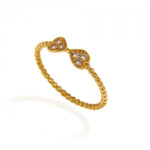 انگشتر طلا زنانه طرح پاپیون با نگین کد cr391
