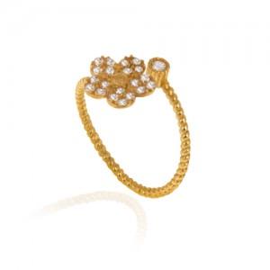 انگشتر طلا زنانه طرح گل با نگین کد cr392
