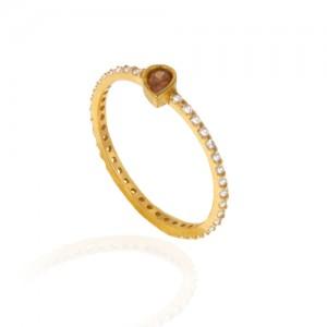 انگشتر طلا زنانه طرح اشک با نگین کد cr394