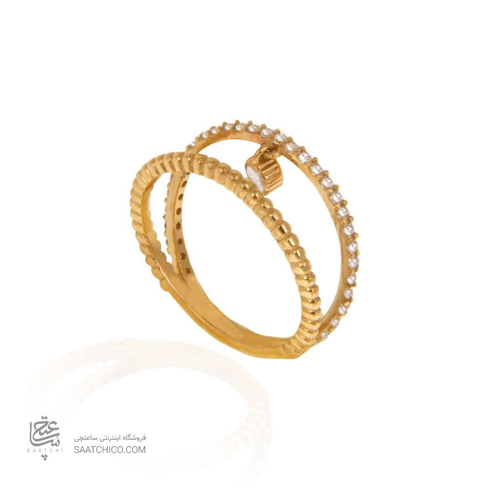 انگشتر طلا زنانه با نگین و آویز دایره کد cr396