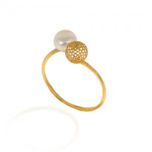 انگشتر طلا زنانه با گوی فیوژن و مروارید کد cr398