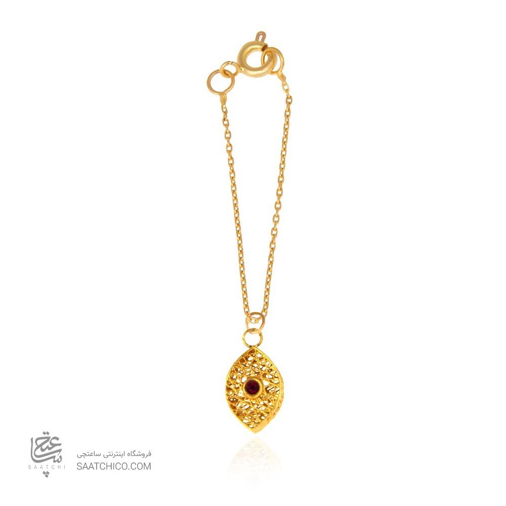 آویز ساعت طلا زنانه طرح چشم فیوژن با نگین  کد wp350