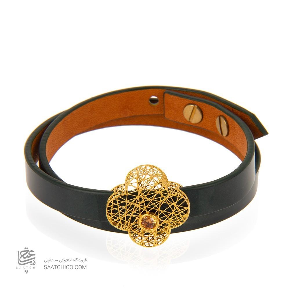 دستبند چرم و طلا طرح گل چهار پر ونکلیف فیوژن با نگین کد xb953