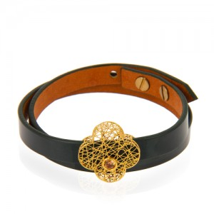 دستبند طلا زنانه طرح گل چهار پر ونکلیف فیوژن با نگین کد xb953