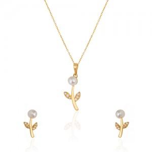 نیم ست طلا زنانه طرح شاخه گل با نگین و مروارید کد xs218