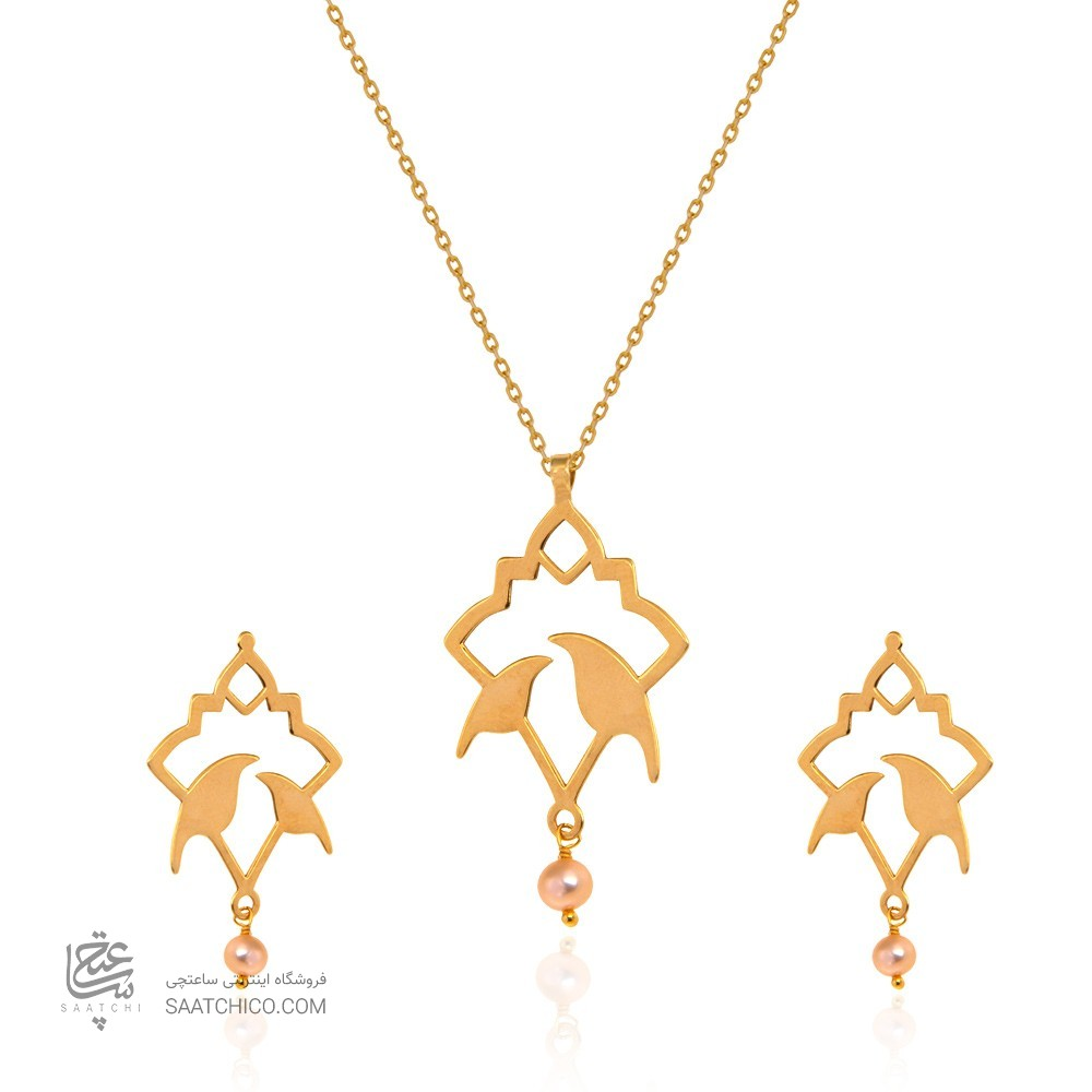 نیم ست طلا زنانه طرح اسلیمی با مروارید کد xs220