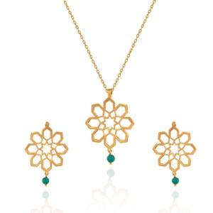 نیم ست طلا زنانه طرح اسلیمی با سنگ فیروزه کد xs221