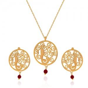 نیم ست طلا زنانه طرح گل و مرغ با سنگ کد xs222