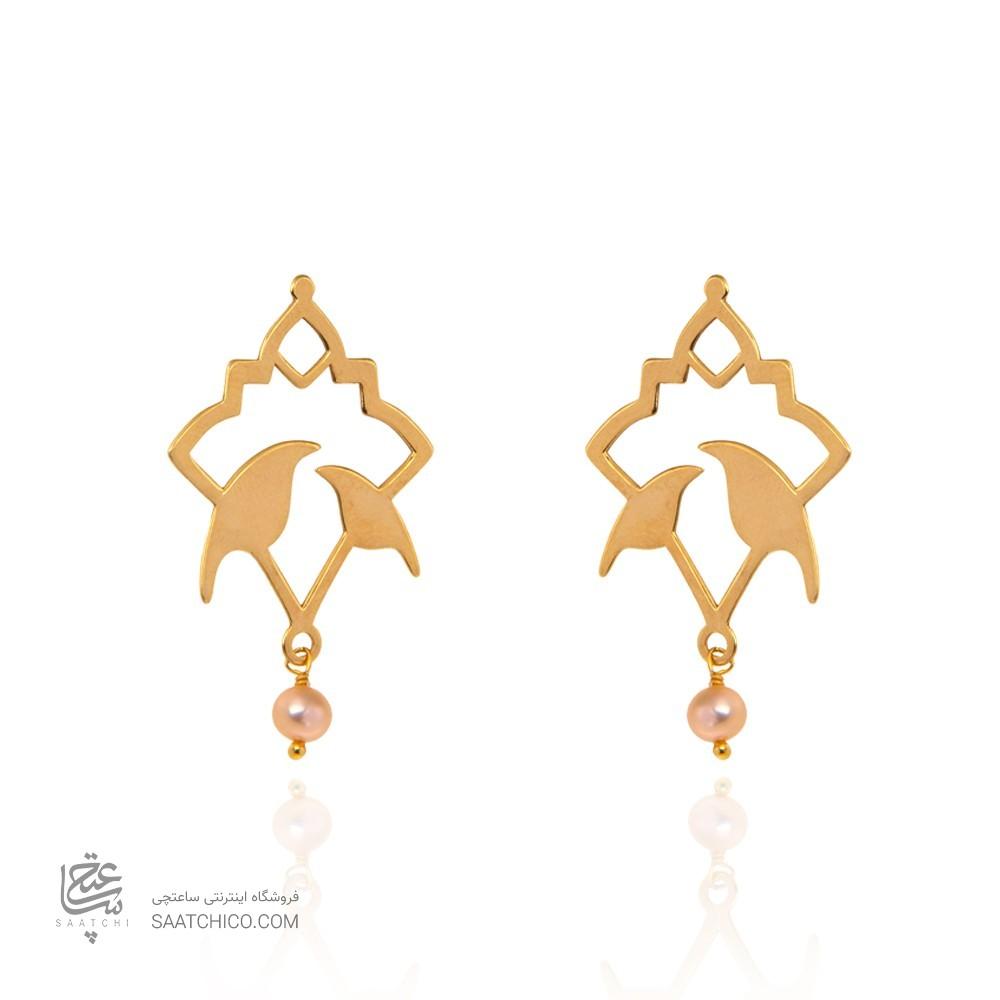 گوشواره طلا زنانه طرح اسلیمی با مروارید کد xe231