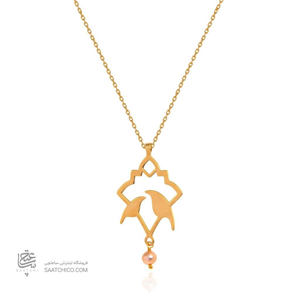 آویز طلا زنانه طرح اسلیمی با مروارید کد xp220