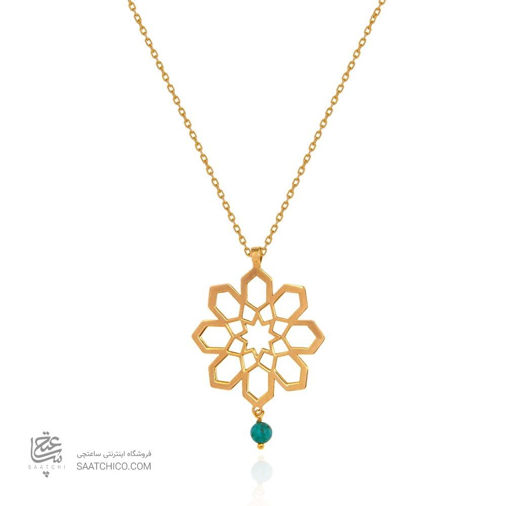 آویز طلا زنانه طرح اسلیمی با سنگ فیروزه کد xp218