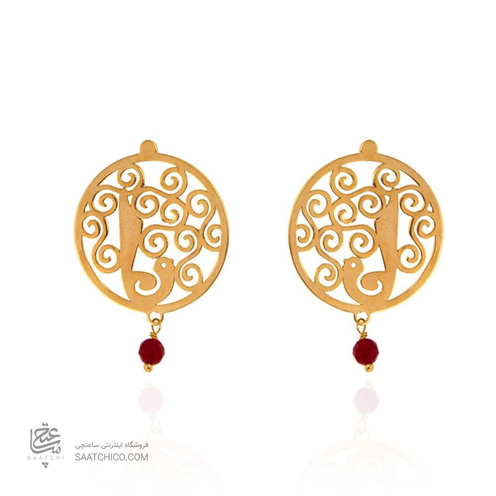 گوشواره طلا زنانه طرح گل و مرغ با سنگ کد xe232