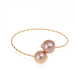 دستبند طلا زنانه با مروارید کد xb950
