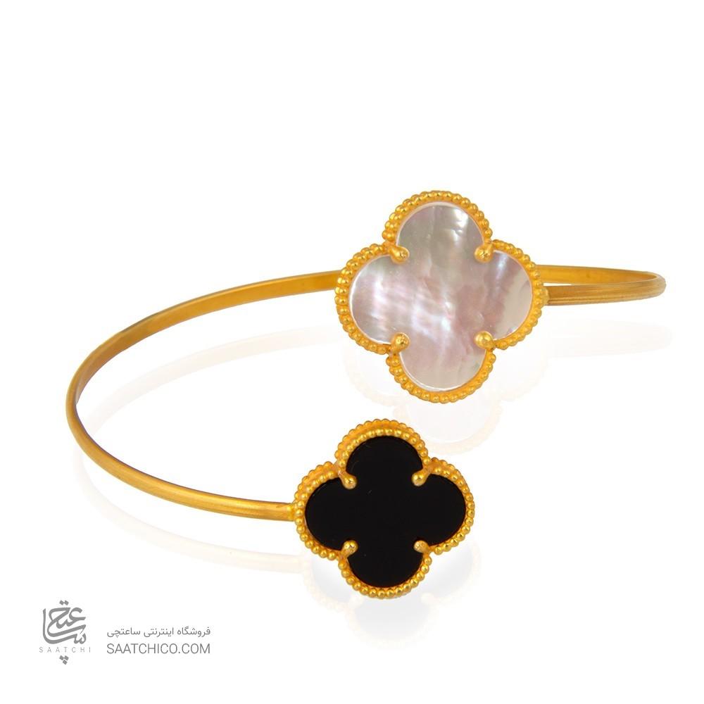 دستبند طلا زنانه طرح گل چهار پر ونکلیف کد xb959