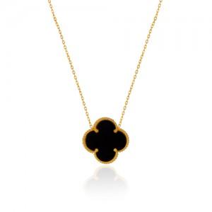 گردنبند طلا زنانه طرح گل چهار پر ونکلیف کد xn314