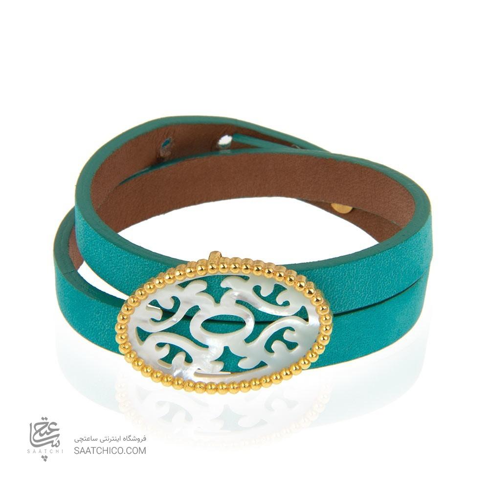 دستبند چرم و طلا زنانه با صدف کد xb952