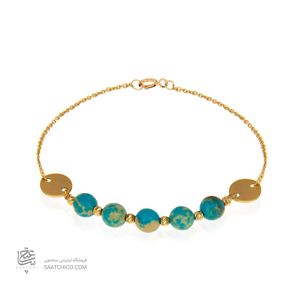 دستبند طلا با گوی و پولک طلا و سنگ کد xb961