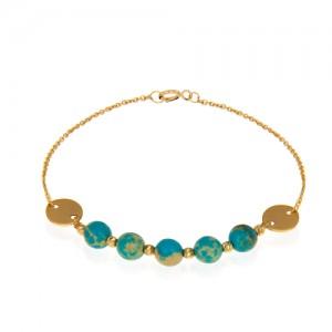 دستبند طلا زنانه با گوی و سنگ کد xb961