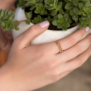 انگشتر طلا زنانه دو لایه کد cr403