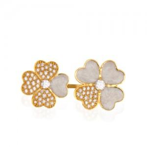 انگشتر طلا زنانه طرح گل با نگین کد cr405
