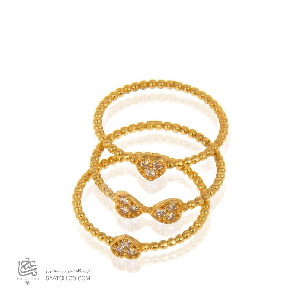 انگشتر ست طلا زنانه با نگین کد cr406