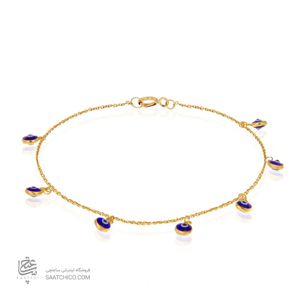دستبند طلا زنانه با آویزهای چشم نظر کد cb350