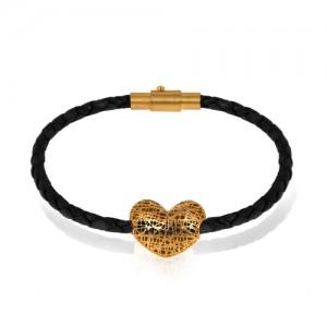 دستبند چرم و طلا طرح قلب دورو کد xb963