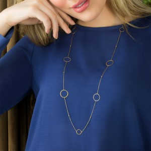 گردنبند رو لباسی طلا زنانه طرح دایره کد xn612