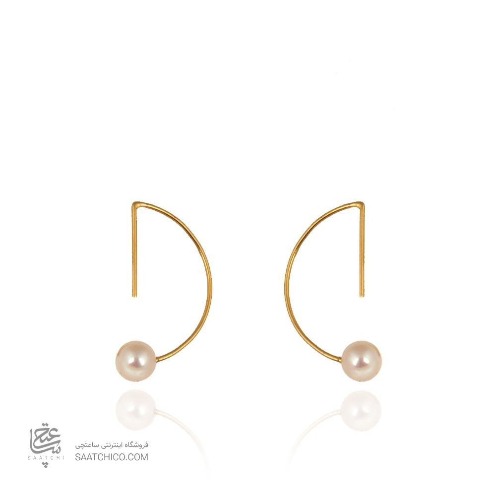 گوشواره طلا زنانه نیم دایره با سنگ کد xe234