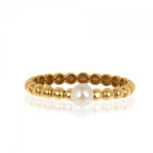 انگشتر طلا زنانه با مروارید کد cr415